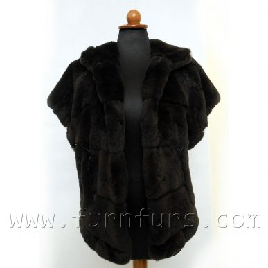 Hooded Rex Rabbit Fur Vest