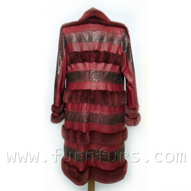 Red Mink Lamb and Python Coat