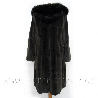 Hooded Weasel & Fox Fur Coat