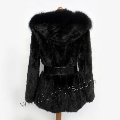 Hooded Mink Fur Jacket with Fox