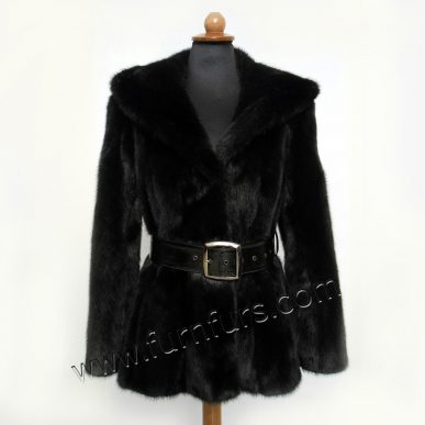 Black Hooded Mink Jacket