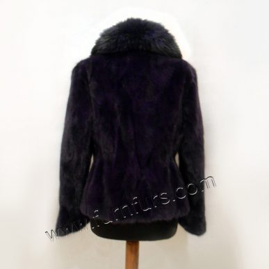 Blue-Purple Mink Fur Jacket with Fox