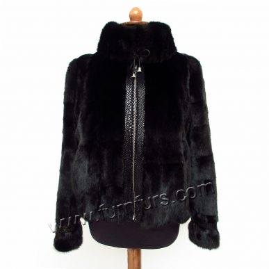 Black Sculptured Mink Jacket With Zipper