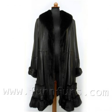 SAGA Mink Fur & Lamb Leather Coat