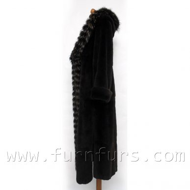 Hooded Weasel Fur Coat With Fox