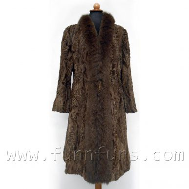 SWAKARA Astrakhan & Fox Fur Coat