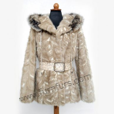 Waisted Hooded Mink Fur Jacket