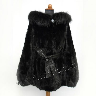 Mink Hooded Cape with Fox