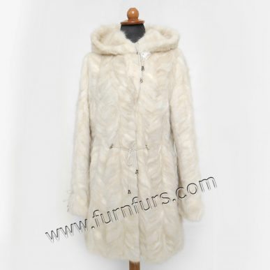 Light Color Hooded Mink fur Jacket