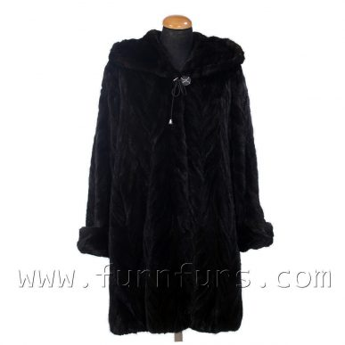 Hooded Mink Fur Semi-Coat