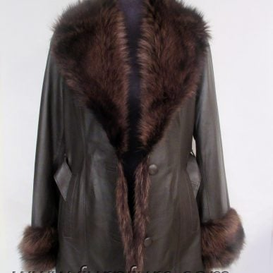 Lamb Leather Jacket with Raccoon Fur