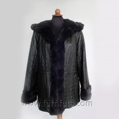 Lamb Leather Jacket with Rex Rabbit Fur