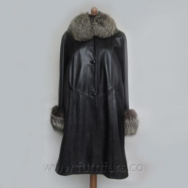 Lamb Leather Coat with Fox Fur