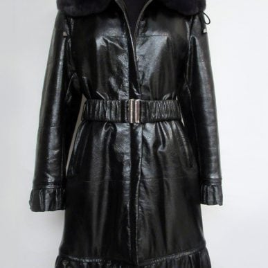 Leather Coat with Rex Rabbit Fur