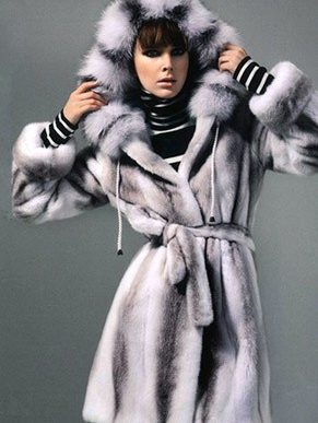 Hooded Mink Fur Coat With Fox
