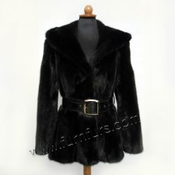 Black Hooded Mink Jacket