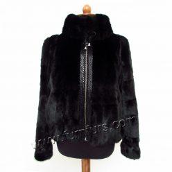 Black Sculptured Mink Jacket With Zipper