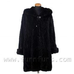 Hooded Mink Fur Semi-Coat